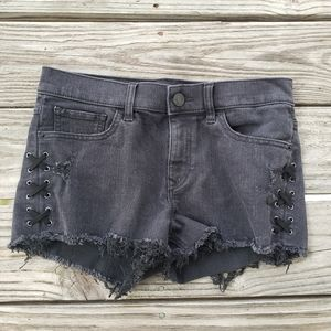 Express Black Denim Jean Shorts with Lace Up Sides